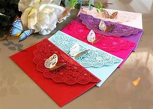 freeshippinghotsale 2pcs butterfly decor red packet With wedding invitation envelope for sale