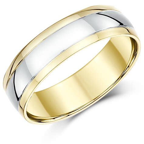 6mm 9ct two colour gold court shape wedding ring band 9ct 2 colour gold at elma uk jewellery