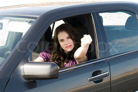 Angry Woman In Her Car