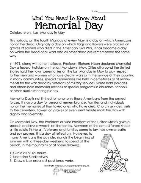 memorial day  worksheet squarehead teachers
