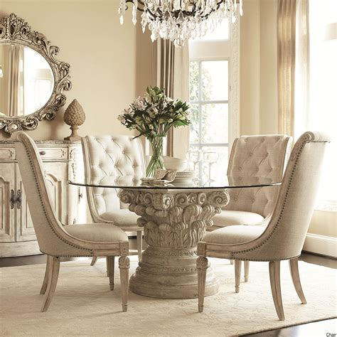 circle dining table set beige white dining room set with carved acrylic based