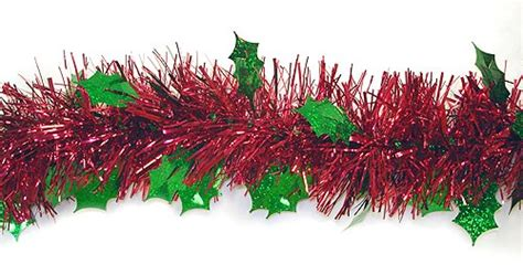 ft red christmas tinsel garland  green holographic
