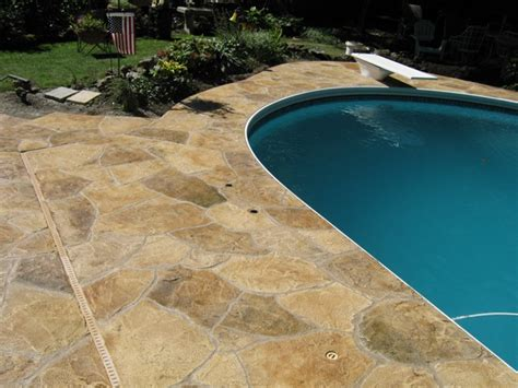 resurface pool deck with tile look with decorative concrete concreteideas