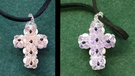 Beading4perfectionists : Double sided Cross pendant made with beading tutorial - YouTube