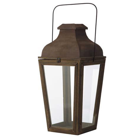 lanterne de jardin en bois effet rouille h 65 cm alphonse maisons du monde