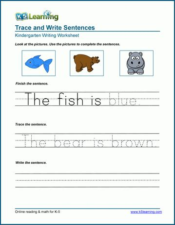 read trace  write sentences worksheets  learning