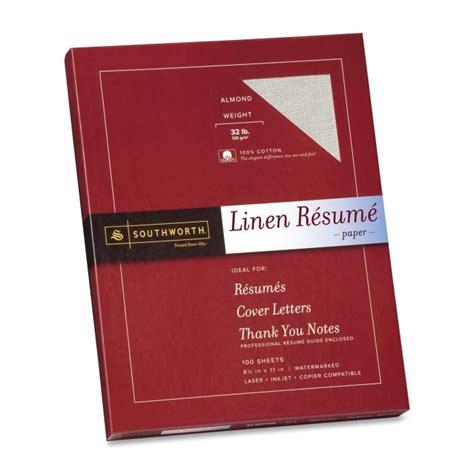 resume paper linen 32 lb 8 1 2 x11 100 bx almond