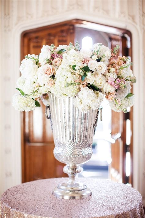 hydrangeas  roses  large mercury glass vase