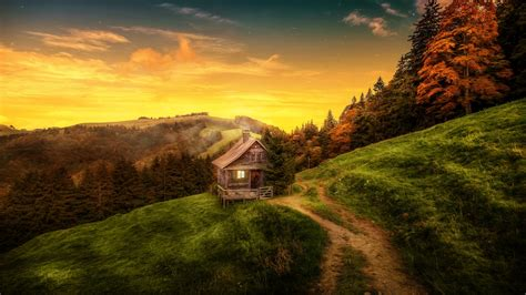 wallpaper house landscape forest switzerland