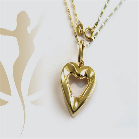 gnk real gold nice heart necklace hamsa