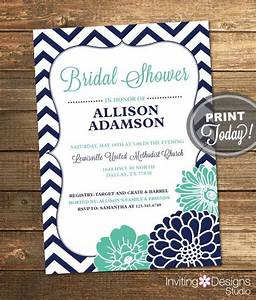 bridal shower invitation chevron floral mint green With minted navy wedding invitations