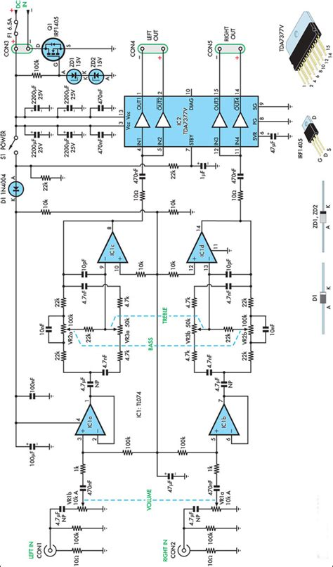 skema rangkaian elektronika gambar skema rangkaian stereo lifier 20w 12v gambar