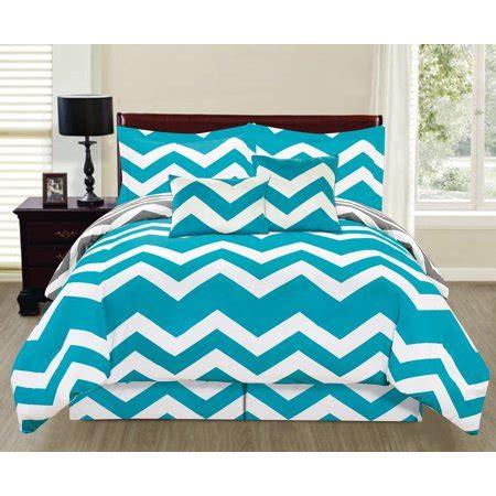 Turquoise Chevron Bedding by 6 Printed Reversible Chevron Comforter Set