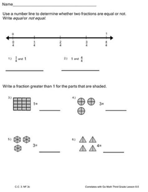 Math worksheets for grade 1. Fractions Practice 2 Worksheets Go Math Third Grade Lesson 8.6   TpT