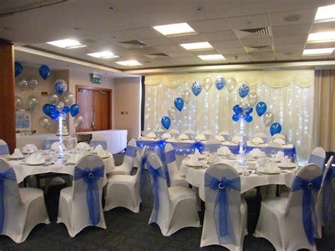 royal blue table decorations wedding venue decorations chair covers balloons and