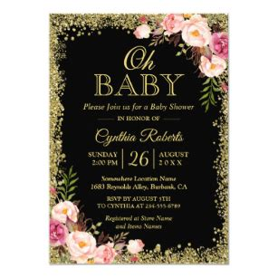 Pink And Black Baby Shower Invitations - pink and black baby shower invitations zazzle