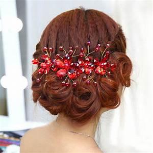 Wedding Hair Accessories Red Flowers Hair Clips Bride