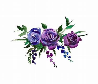 Watercolor Purple Flowers Clipart Bouquet Floral Flower