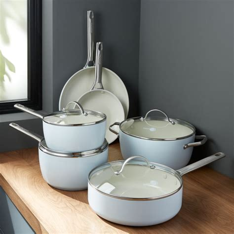 greenpan padova ceramic nonstick  piece cookware set reviews crate  barrel