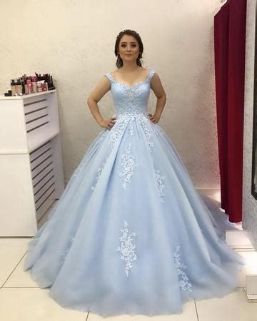 custom  tulle light blue ball gown prom