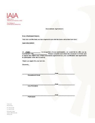 honorarium agreement template  museum  contemporary