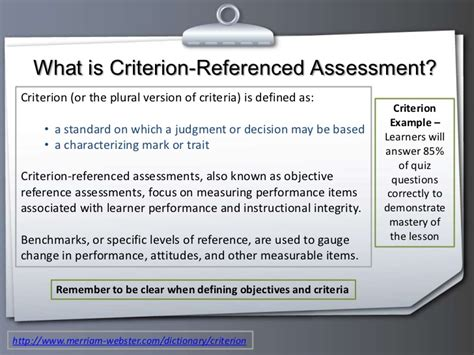 criterion referenced assessment developing assessment instruments