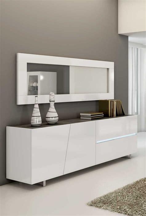 bahut blanc laque avec miroir
