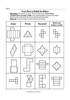 nets images  shapes worksheets teaching