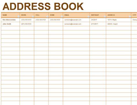address book template address book