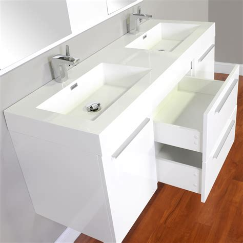 "Alyaat8047w 54"" Double Modern Bathroom Vanity White"