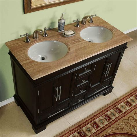 compact double sink travertine stone top bathroom