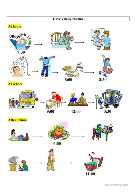 daves daily routine worksheet  esl printable worksheets   teachers