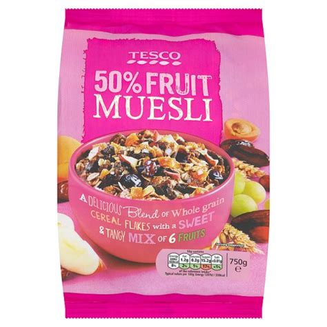 750g cuisine tesco 50 fruit muesli 750g groceries tesco groceries