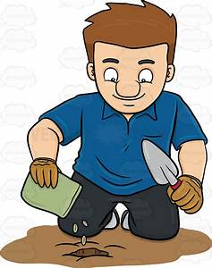 A Man Planting Seeds Vector Clip Art Cartoon