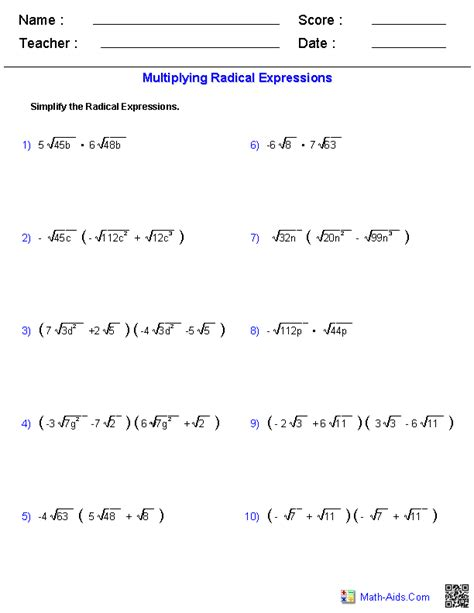 multiplying radical expressions worksheets tutoring