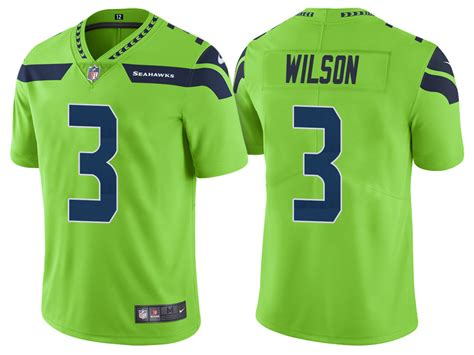 seahawks russell wilson  neon green color rush legend jersey