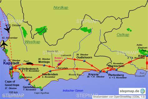stepmap suedafrika garden route landkarte fuer suedafrika