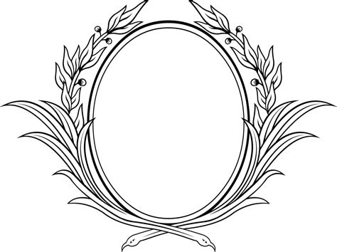 decorative oval floral vector frame