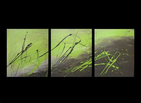 3 Abstract Canvas Painting Lime Green And Brown. Modern