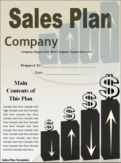 sales plan templates   printable word excel