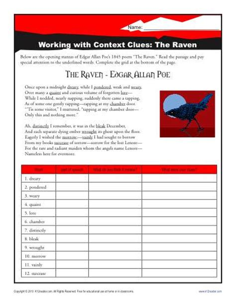 the context clues worksheets for middle school
