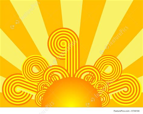weather retro sunrise stock illustration