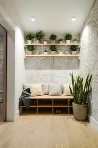 Pouf En Bois : d co salon quelle couleur pour un couloir murs en briques blanches parquet beige en bois ~ Teatrodelosmanantiales.com Idées de Décoration
