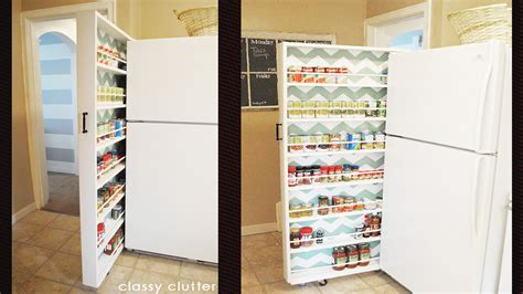 How To Make A Pantry Out Of A Bookcase by Build A Space Saving Roll Out Pantry That Fits Between The