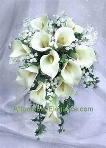 IVORY CREAM Or WHITE Bridal Bouquet Calla Lilies Silk