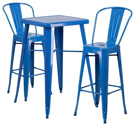 Bistro Patio Set Under 100 by Metal Bar Table Set 3 Piece Set Blue Industrial
