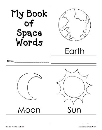 my book of space words printable book a to z teacher