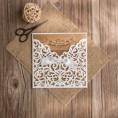 faire part mariage kraft et dentelle faire part mariage dentelle pochette invitation mariage