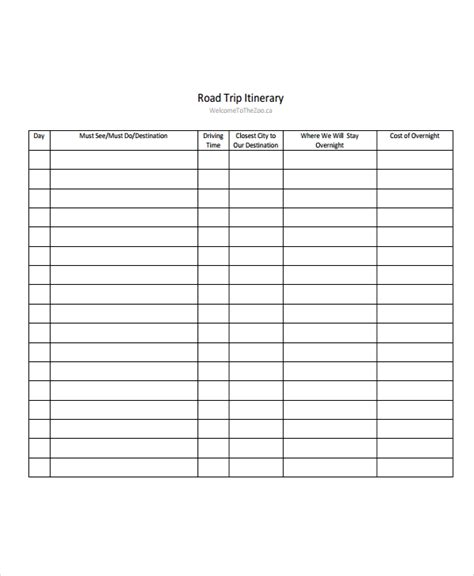 Blank Trip Itinerary Template 5 road trip itinerary templates free sle exle