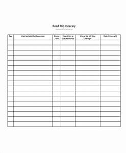 5 road trip itinerary templates free sample example for Blank trip itinerary template